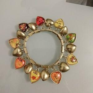Vintage Betsy Johnson Puffy Heart Stretch Bracelet